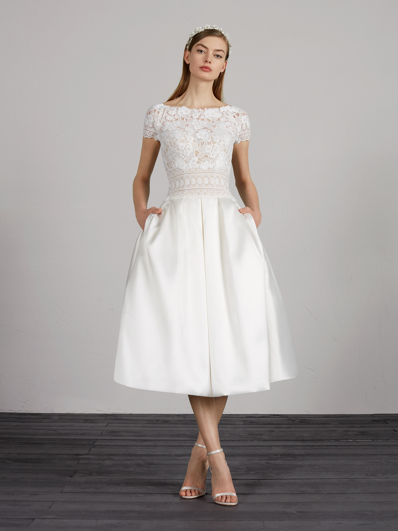 Wedding Dresses Miami.Mikado Wedding Dress With A Short Skirt And Short Sleeves
