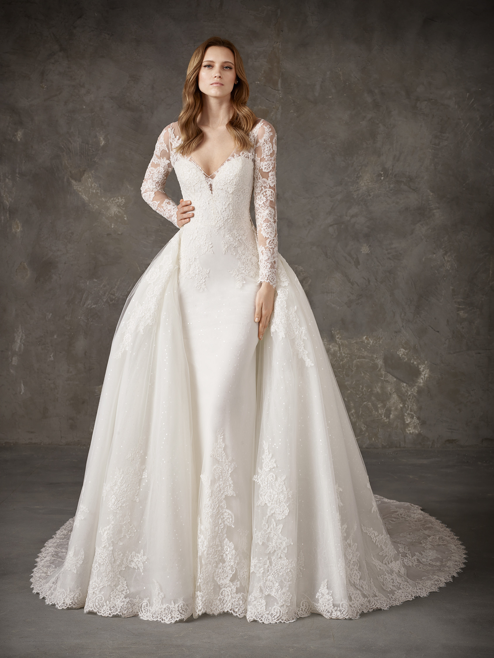 Elegant Wedding Dress With Detachable Overskirt Ovias