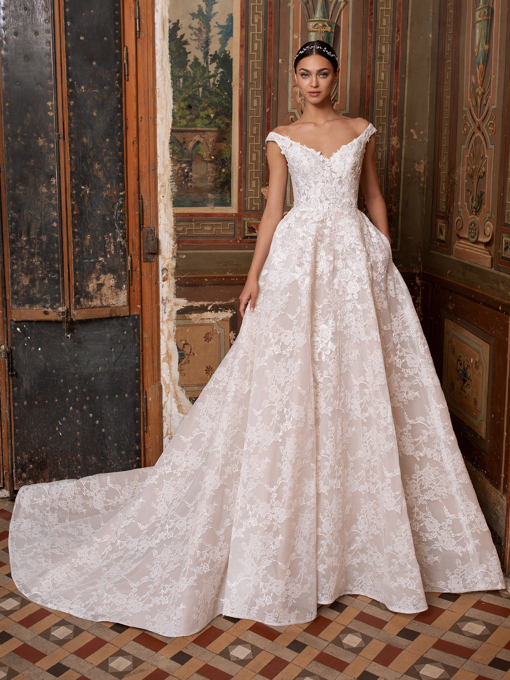 front wedding dress lace off the shoulder neckline princess cut thebe