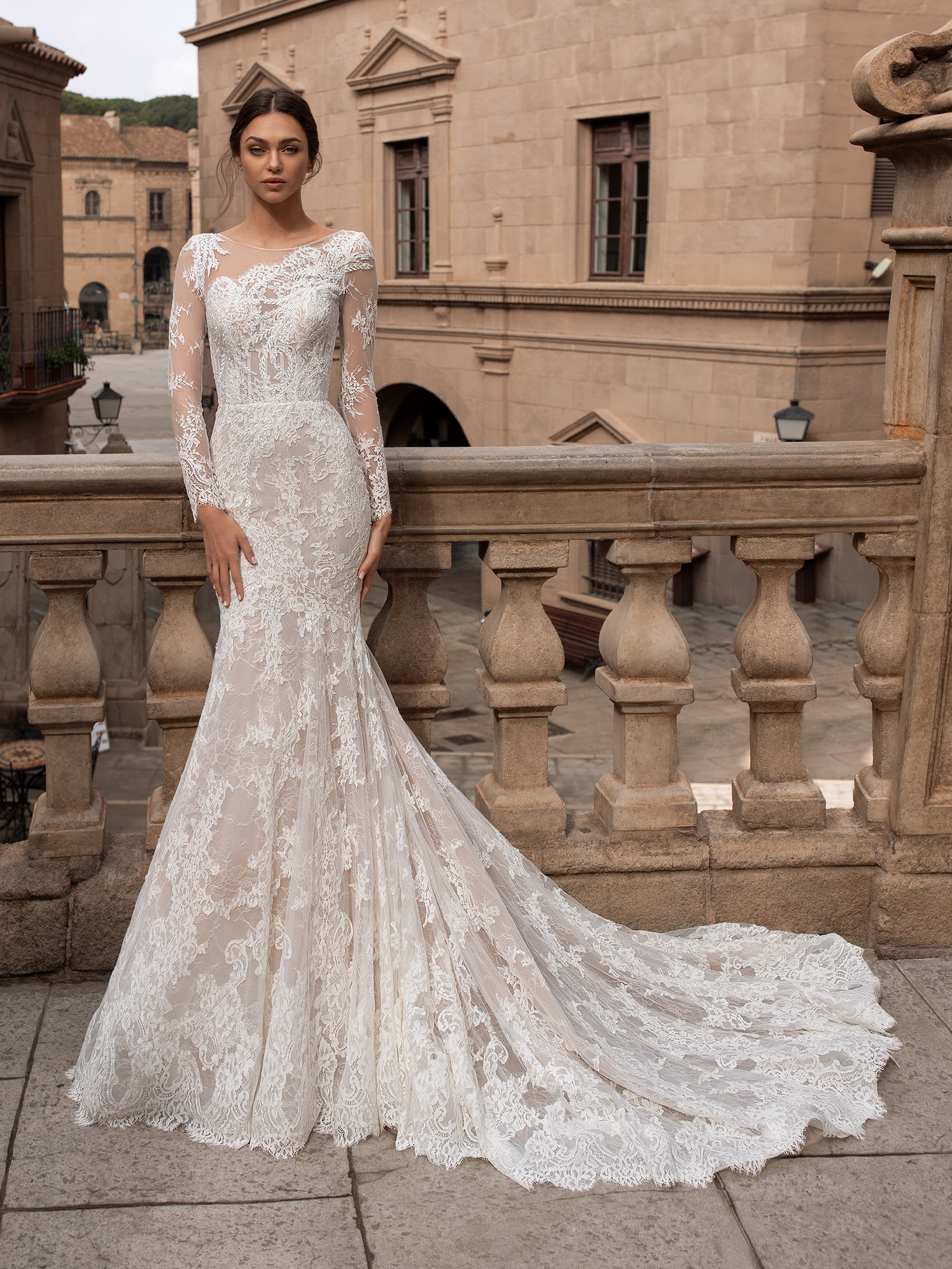 front wedding dress lace mermaid silhouette asymmetrical neckline long sleeves tattoo effect back thyone