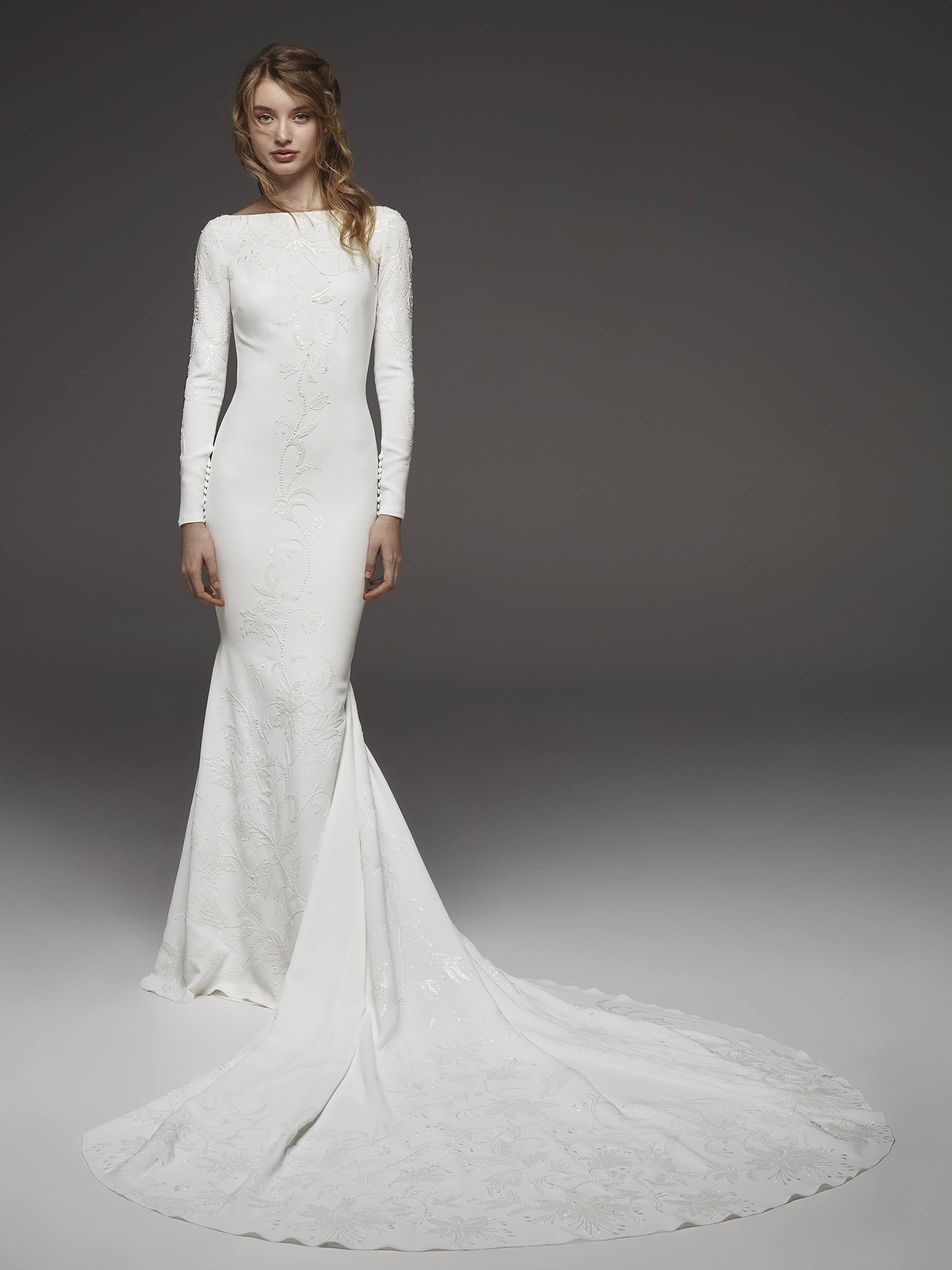"Pronovias ""Helio"" Long Sleeve Mermaid Gown"