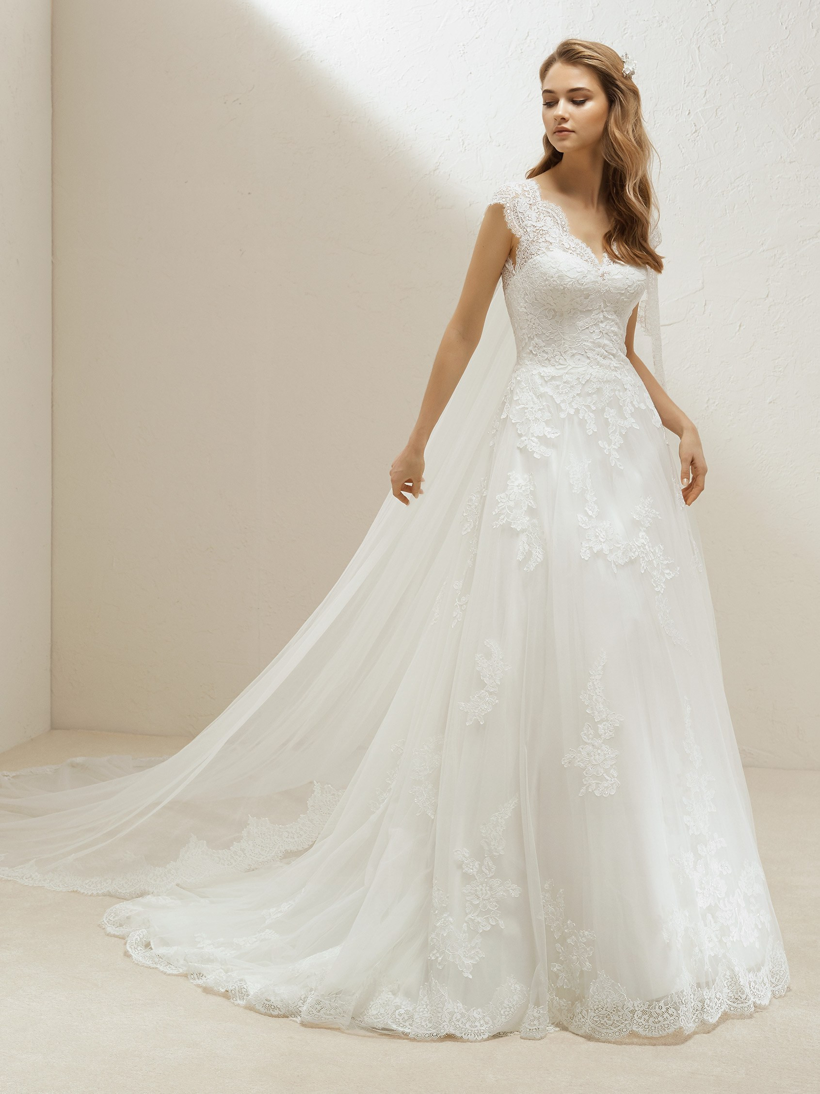 Lovely Princess Wedding Dress With Lace And Long Train Pronovias