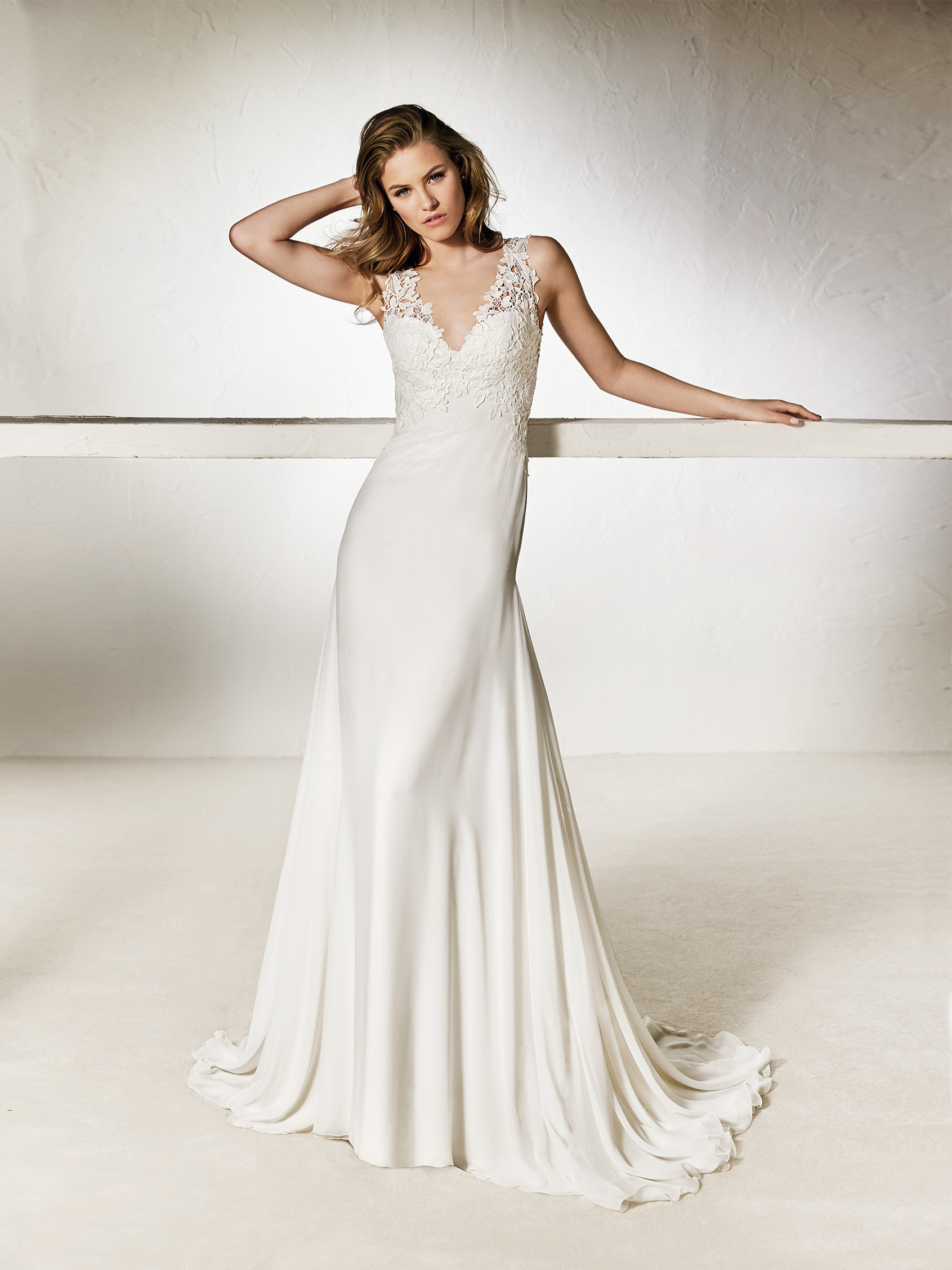 Chalice Flared Wedding Dress With A Double Neckline In