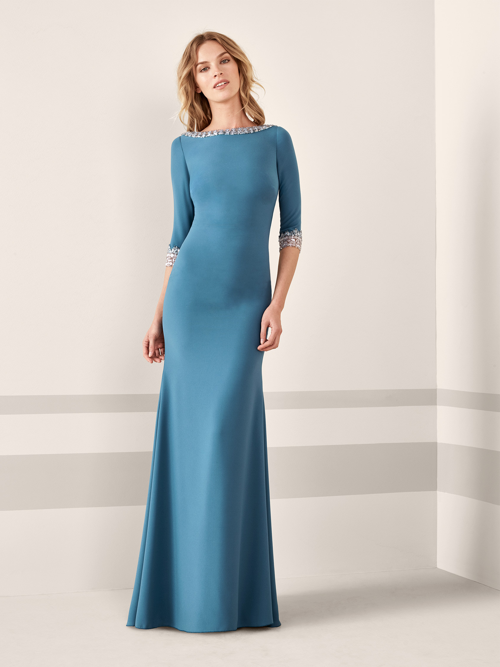Cocktail dress with mermaid silhouette and 3/4 sleeves JANSEN ...