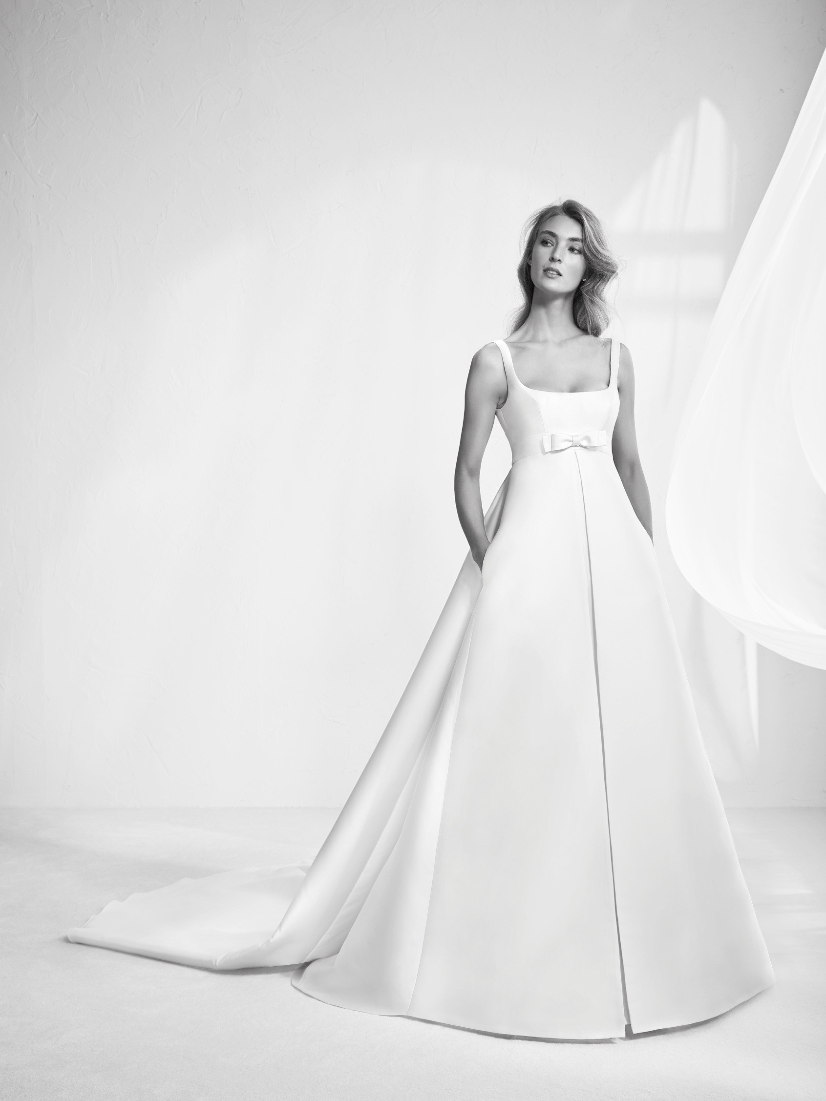 wedding dress a line straps rafina detachable wedding dress train Wedding dress with detachable train Rafina