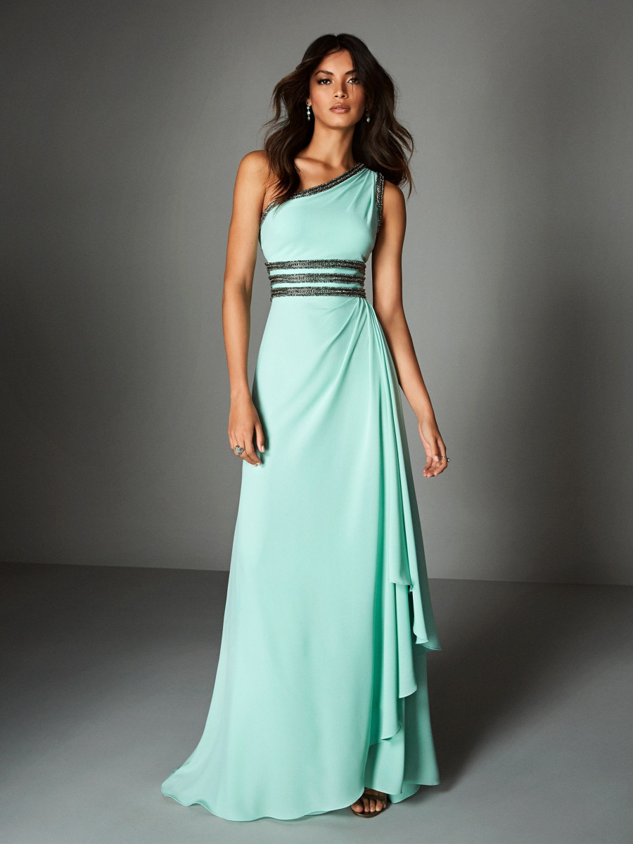 d6aa2cb91d6 Aqua dress in chiffon with one shoulder neckline and unique, beaded  waistline