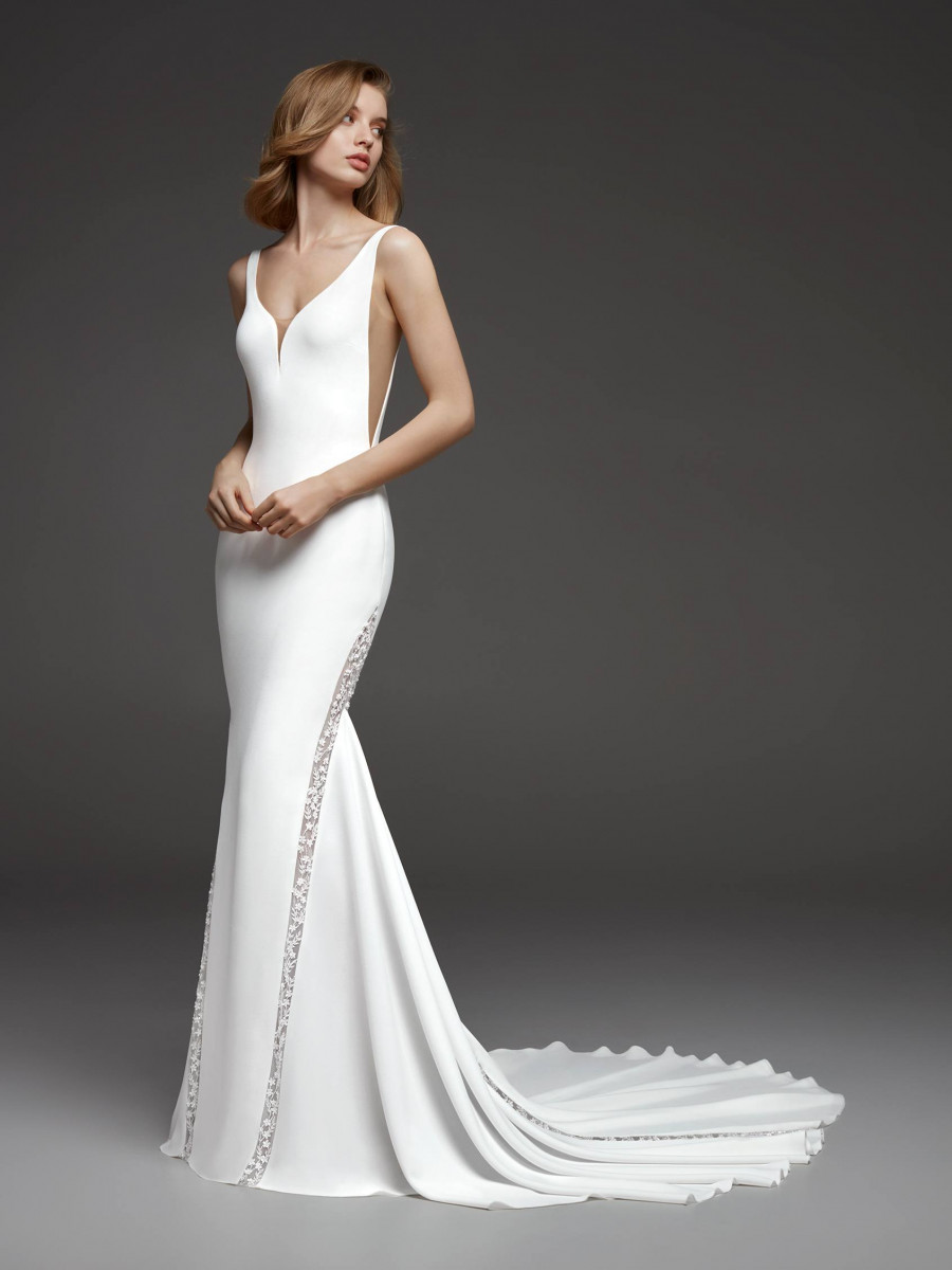Modern Wedding Dress V Neck Straps Mermaid