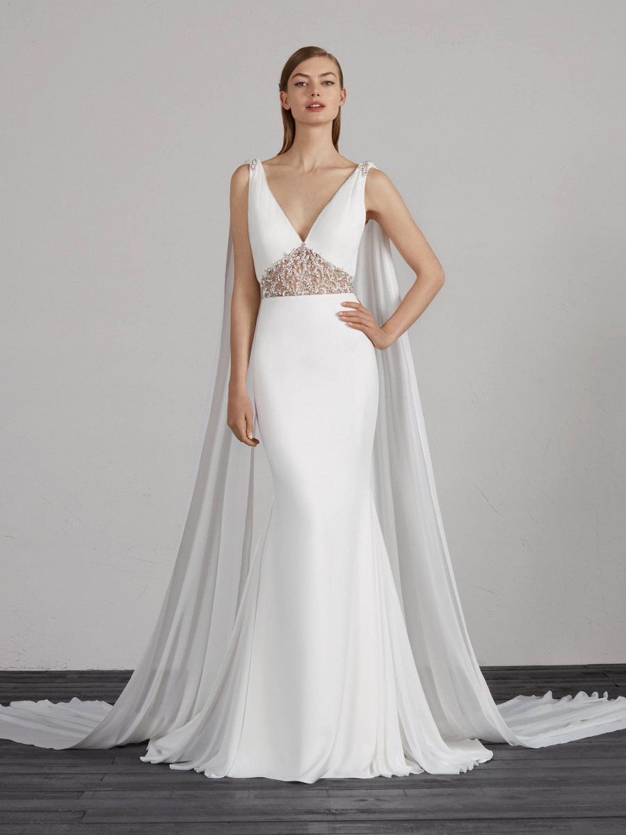 82fba3734a radiant wedding dress mermaid crepe with v neck and back