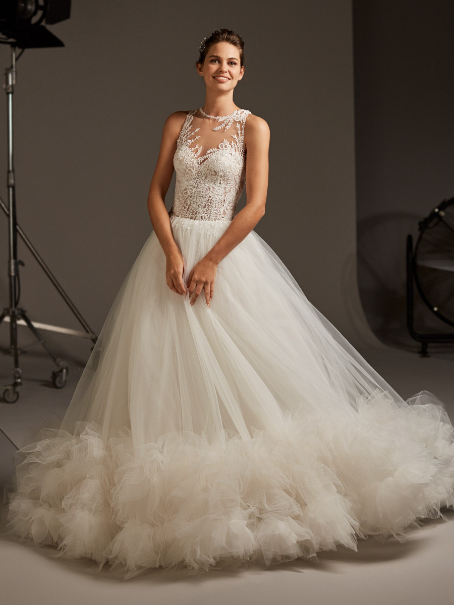 303b9f66d42 Tulle princess wedding dress with illusion neck