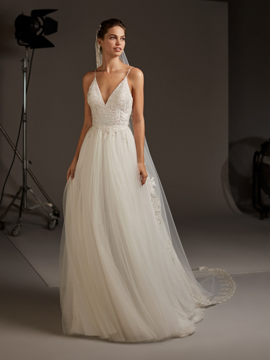 53defe996a9 A line wedding dress with V neck and open back