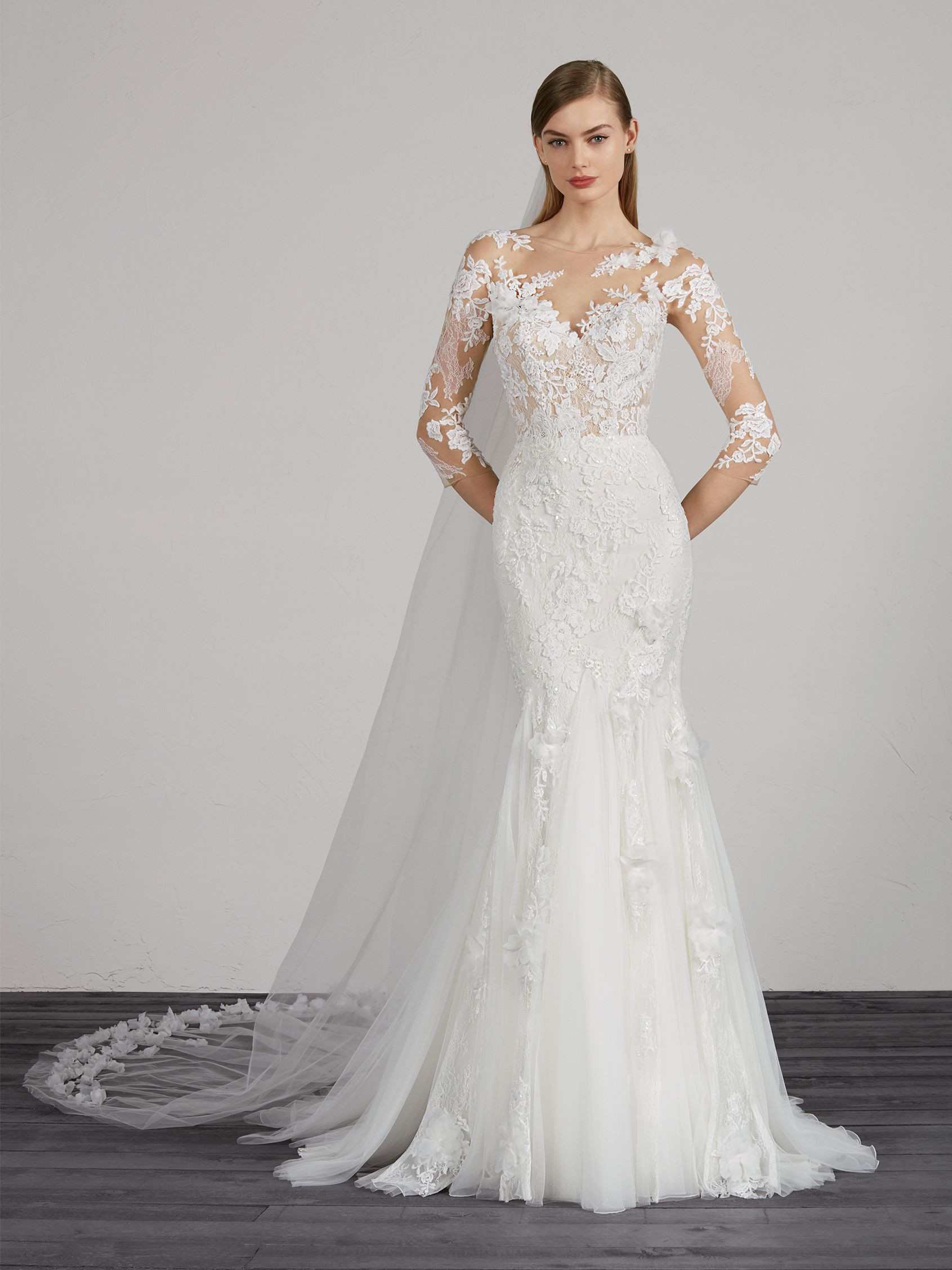 Lovely Mermaid Wedding Dress With Illusion Neckline