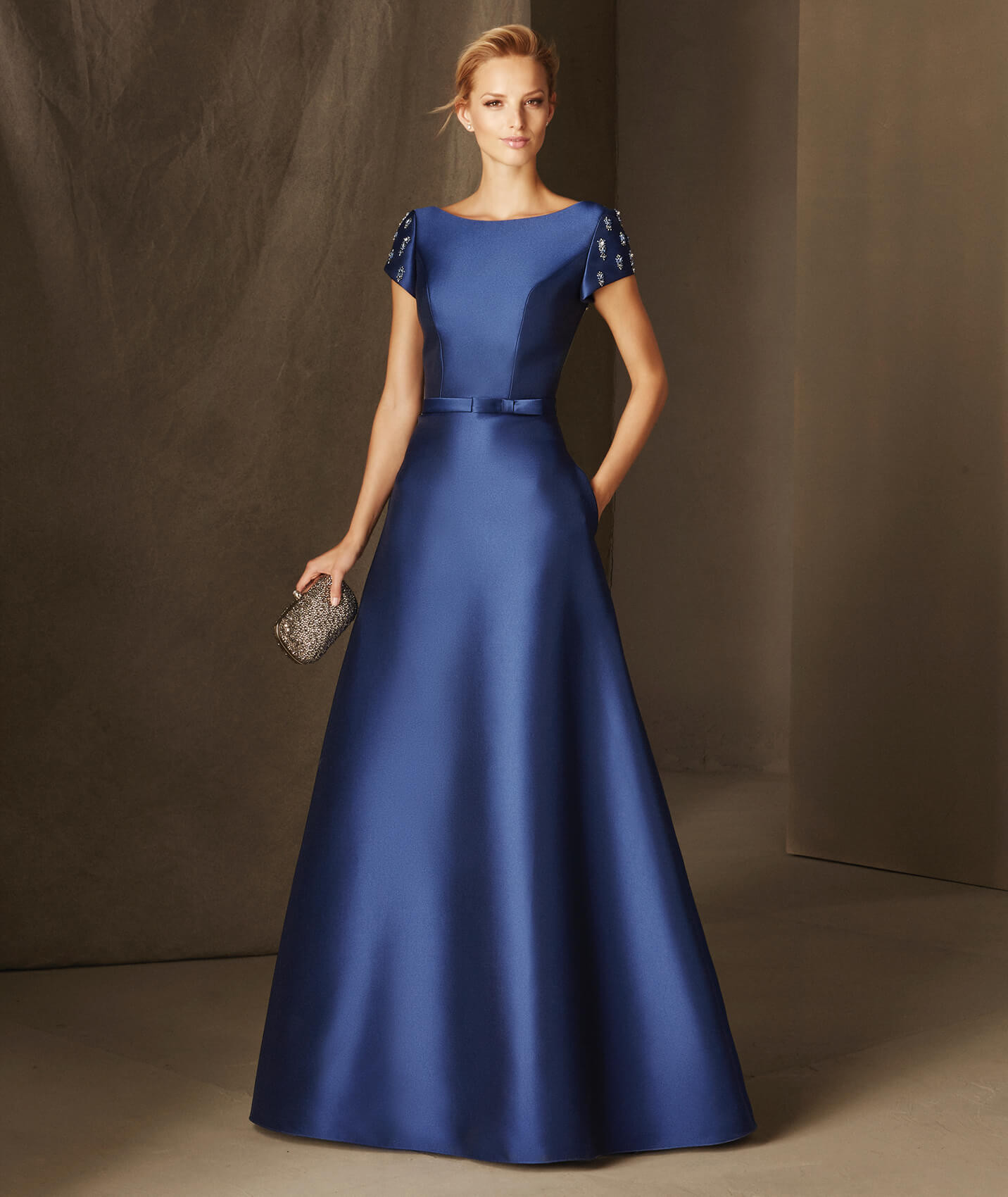 Bria Flared Mikado Maid Of Honor Dress With A Bateau Neckline And Short Sleeves