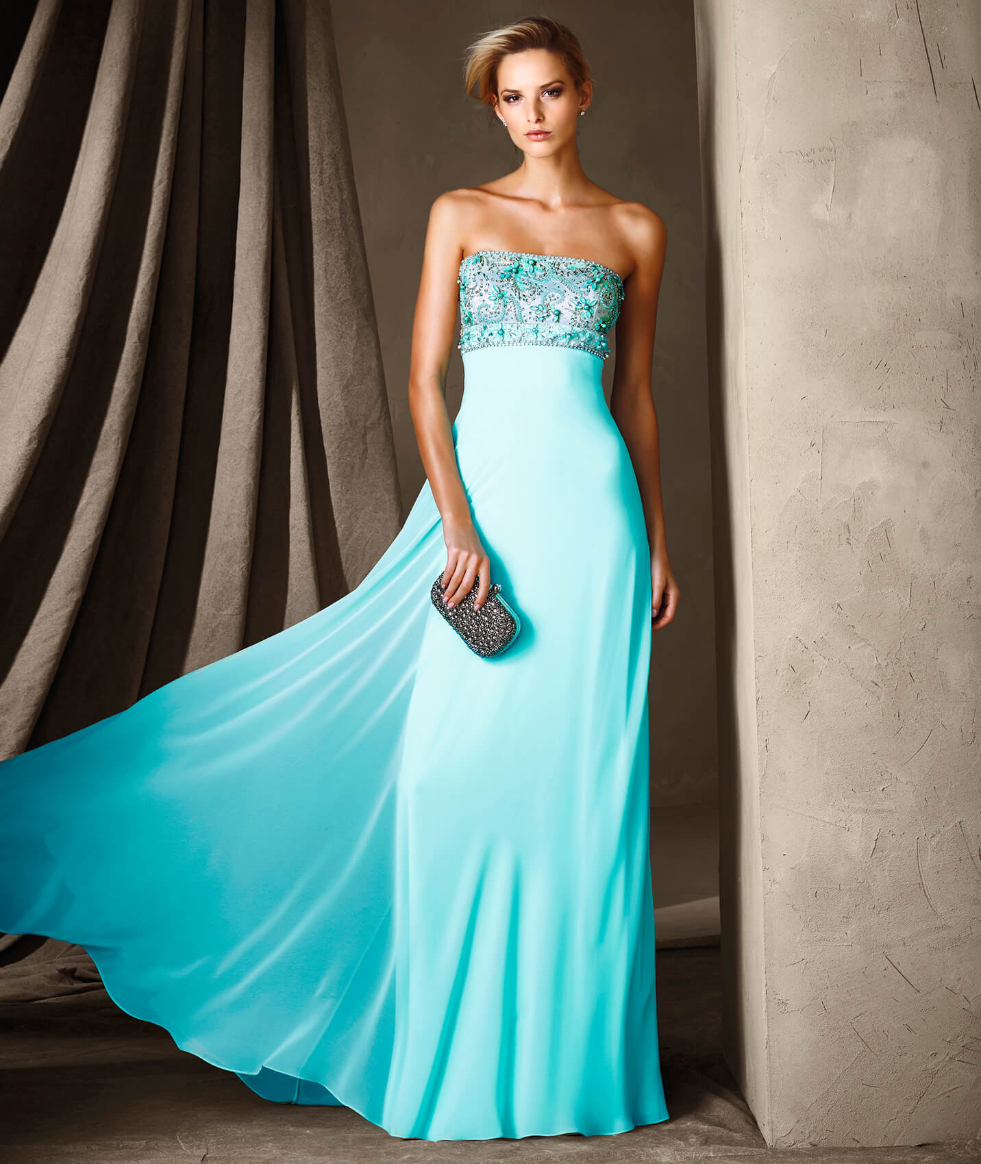 Stylish long party dress with a flaring gauze overskirt. All eyes ...