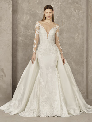 Elegant Wedding Dress Double Look Effect