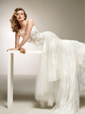 Sensational Wedding Dress In Embroidered Tulle And Lace Dalia