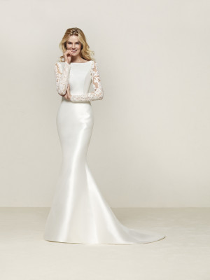 Mermaid Wedding Dress With Long Sleeves And Transparent Back