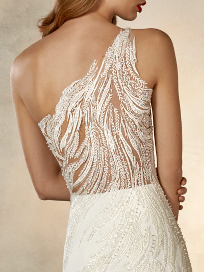 One Shoulder Wedding Dress With Illusion Back Pronovias