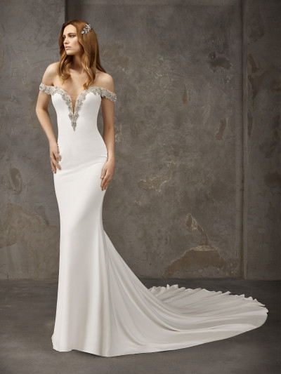 0333b4829bf Sexy crepe mermaid wedding dress with long train