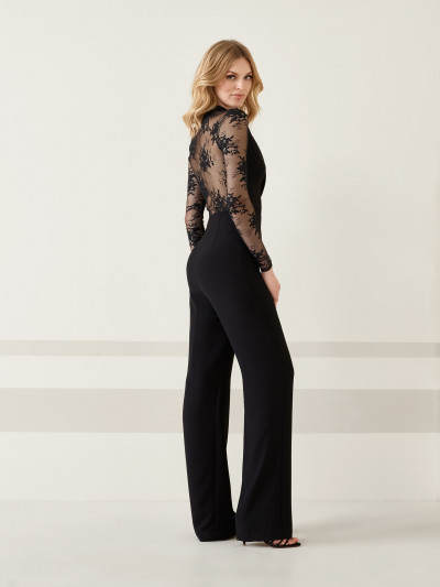 5567b1a13232 Cocktail jumpsuit with pants with illusions