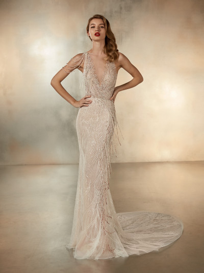 b387733b5ffd Front of tulle mermaid wedding dress with beaded embroidery Pronovias