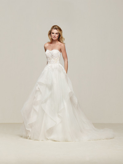 Great Wedding Dress With Skirt With Cascading Frills Draval